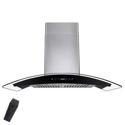 36 in. Convertible Kitchen Wall Mount Range Hood in Stainless Steel with Tempered Glass, Remote, LEDs and Touch Controls