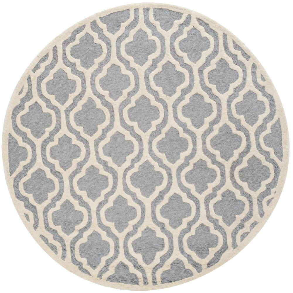 safavieh cambridge silver ivory 4 ft x 4 ft round area rug cam132d 4r the home depot. Black Bedroom Furniture Sets. Home Design Ideas