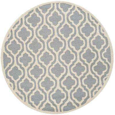 Safavieh Cambridge Silver Ivory 4 Ft X 4 Ft Round Area Rug Cam132d 4r The Home Depot