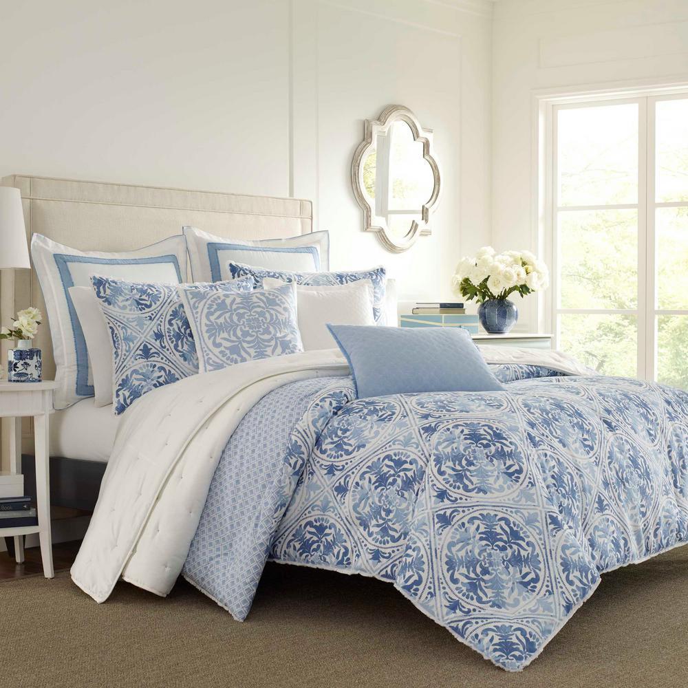 Mila Blue 3-Piece Cotton Full/Queen Duvet Set