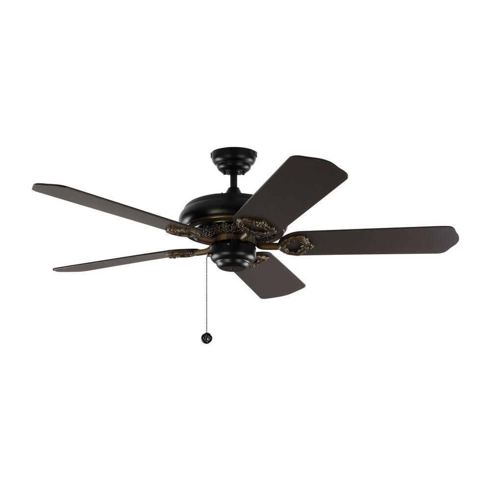Matte Black Ceiling Fan With Blades Pull Chain