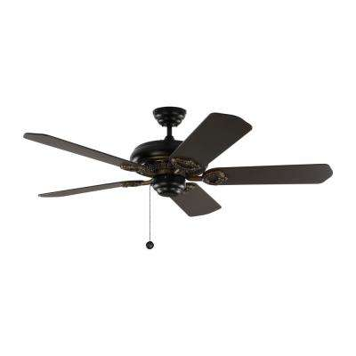 York 52 in. Matte Black Ceiling Fan with Black Blades with Pull Chain