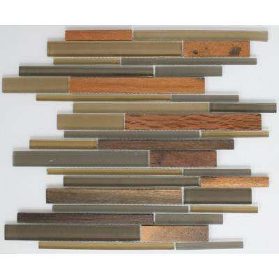 12 in. x 12 in. x 8 mm Tile'ESQUE Olive and Dark Grey Glass with Wood Color Accents Mesh-Mounted Mosaic Tile