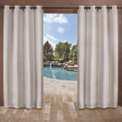 Delano 54 in. W x 108 in. L Indoor Outdoor Grommet Top Curtain Panel in Silver (2 Panels)