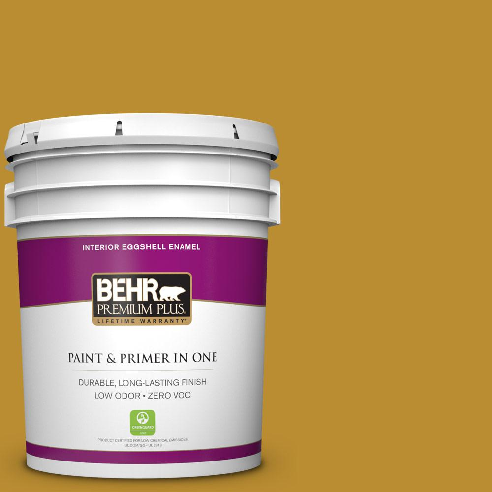 5 gal. #360D-7 Brown Mustard Zero VOC Eggshell Enamel Interior Paint