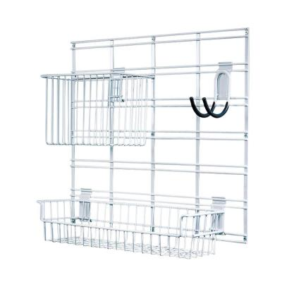 21 in. x 19 in. White Steel Grid Baskets and Hook Bracket System for Wire Shelving