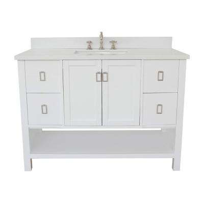 Monterey 49 in. W x 22 in. D Bath Vanity in White with Quartz Vanity Top in White with White Rectangle Basin