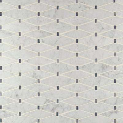 Marbella Diamond 12 in. x 12 in. x 10mm Polished Marble Mesh-Mounted Mosaic Tile (10 sq. ft. / Case)