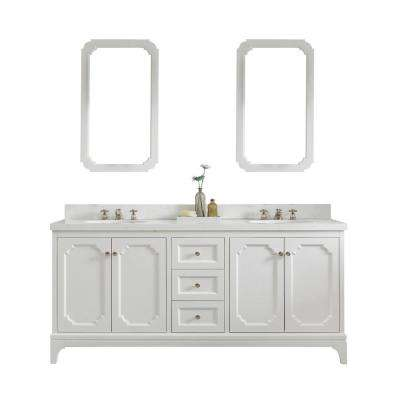 Queen 72 in. Pure White With Quartz Carrara Vanity Top With Ceramics White Basins