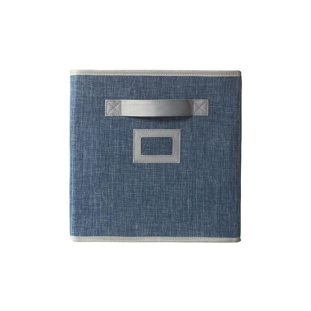 11 in. D x 11 in. H x 11 in. W Indigo Fabric Cube Storage Bin