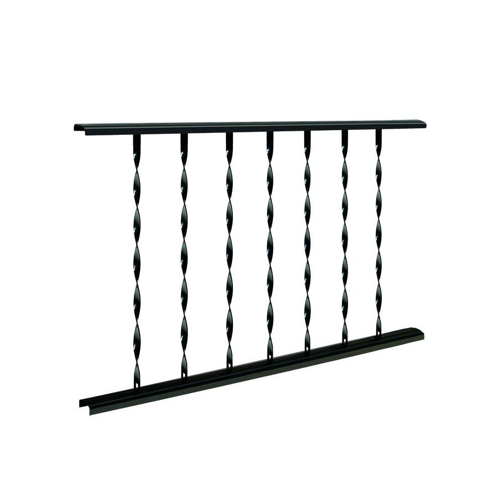Village Ironsmith Classic 4 ft. W x 28 in. H Black Steel Rail Panel