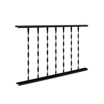 Classic 4 ft. W x 28 in. H Black Steel Rail Panel