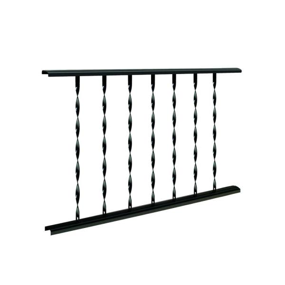 Classic 4 ft. W x 28 in. H Black Steel Rail Panel