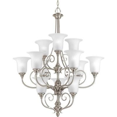 Kensington Collection 12-Light Brushed Nickel Chandelier with Swirled Etched Glass Shade