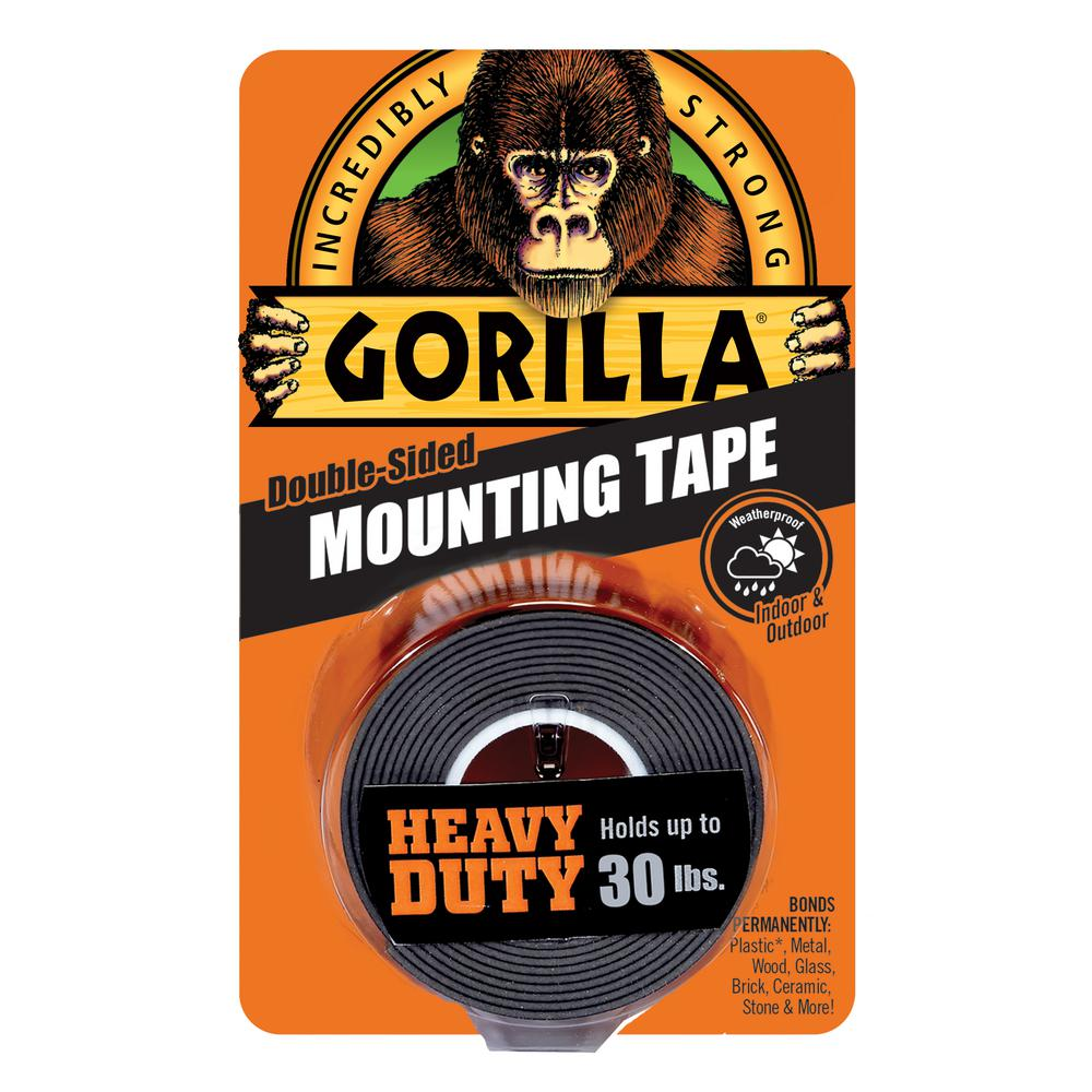 Gorilla 1 in. x 1.67 yd. Black Heavy Duty Mounting Tape
