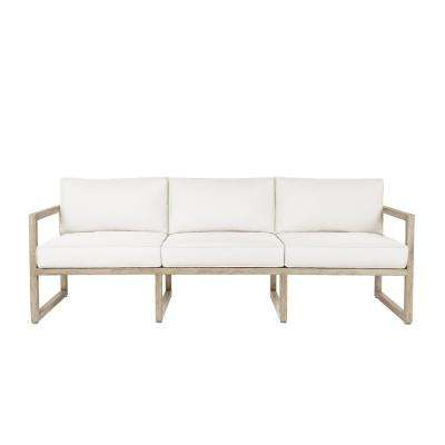 Monaco 1-Piece All Weather Aluminum Outdoor Patio Sofa with Pale-Gray Cushions