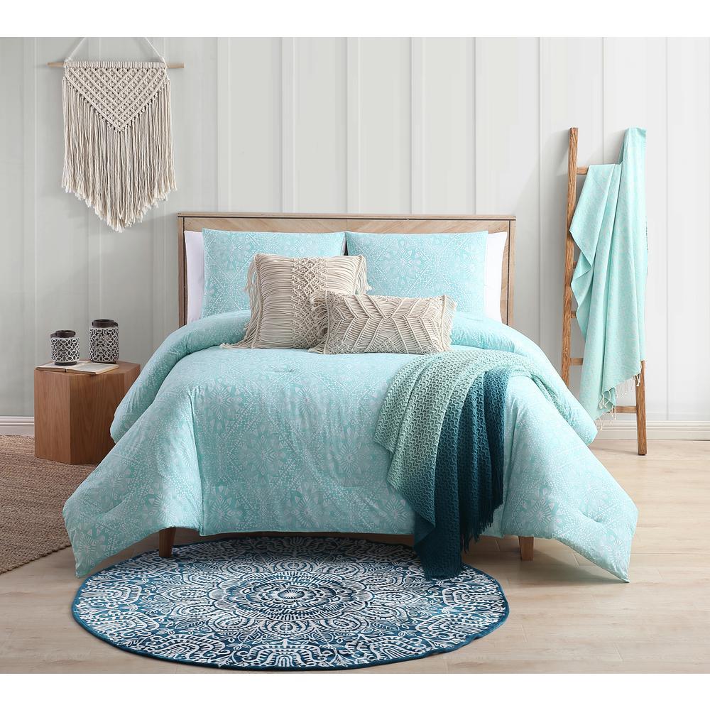 Kaibu Isle Aqua Boho Block Print Full/Queen Cotton Comforter Set