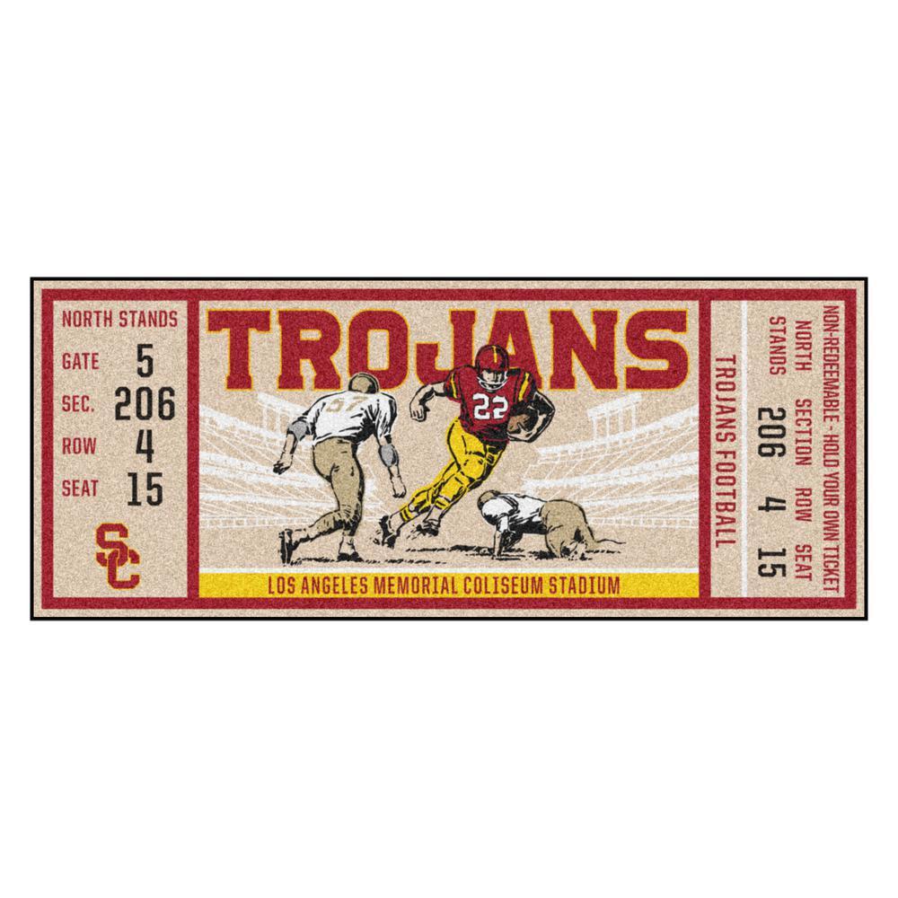 NCAA University of Southern California 30 in. x 72 in. Indoor Ticket Runner Rug