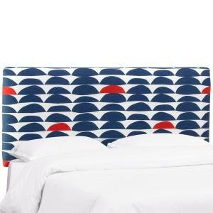 Halfmoon Navy Red Twin Upholstered Headboard