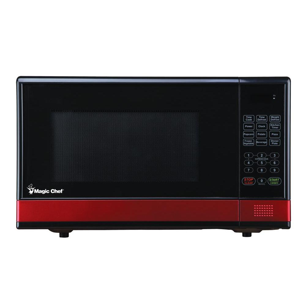 Magic Chef 1.1 cu. ft. Countertop Microwave in Black with Red Stripe