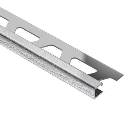 Quadec Leather Texture Stainless Steel 1/2 in. x 8 ft. 2-1/2 in. Metal Square Edge Tile Edging Trim
