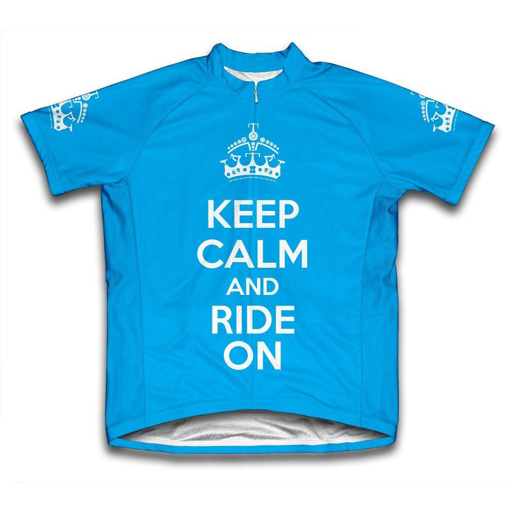 Unisex Extra Large Blue Keep Calm and Ride on Microfiber Short-Sleeved