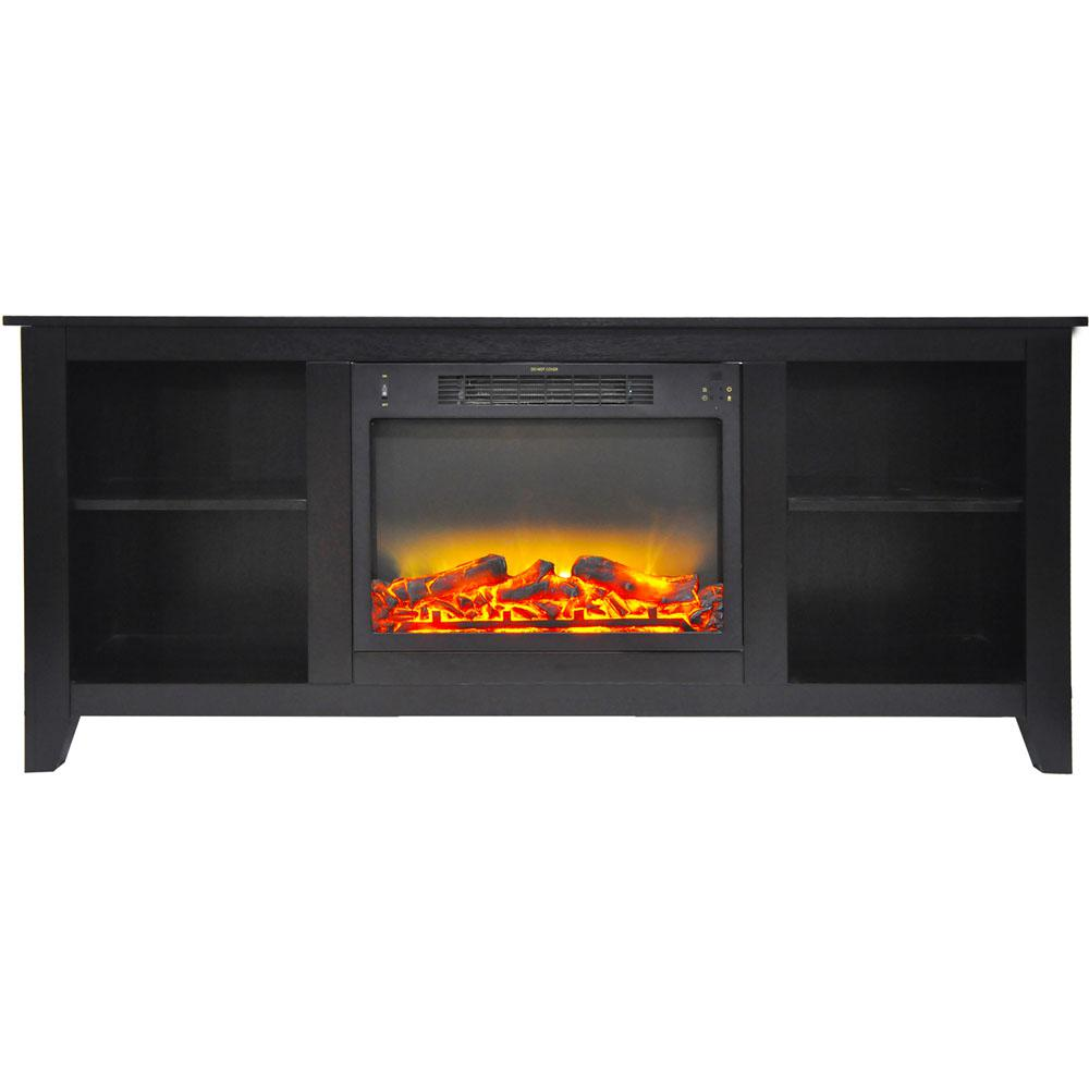 Bel Air 63 in. Electric Fireplace and Entertainment Stand in Black