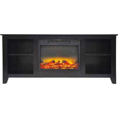 Bel Air 63 in. Electric Fireplace and Entertainment Stand in Black Coffee with Enhanced Log Display