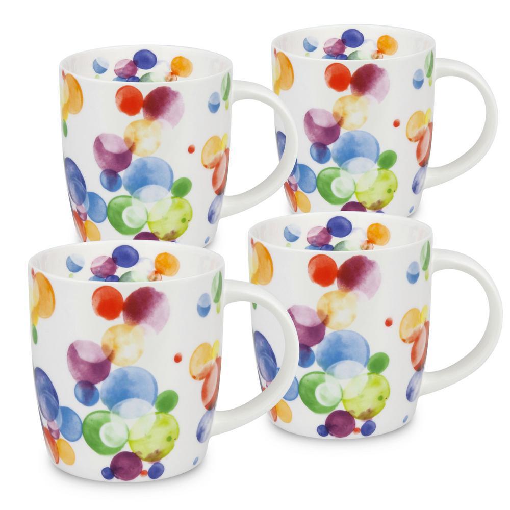 Konitz 4-Piece Colorful Cast Bubbles Bone China Mug Set