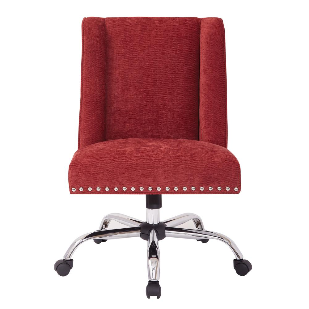 OSP Home Furnishings Alyson Managers Chair in Berry Fabric with Silver Nail heads and Chrome Base, Berry Polyester OSP Home Furnishings Alyson Managers Chair in Berry Fabric with Silver Nail heads and Chrome Base, Berry Polyester