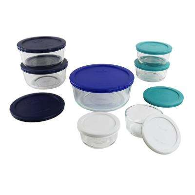 Simply Store 16-Piece Round Glass Storage Set with Assorted Colored Lids