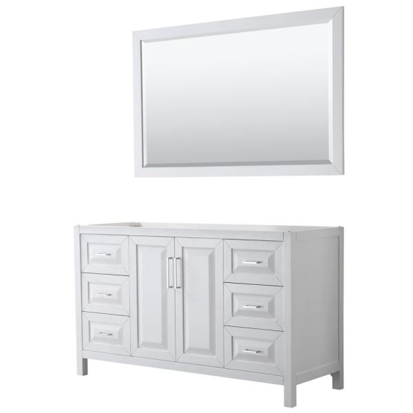 Daria 59 in. Single Bathroom Vanity Cabinet Only with 58 in. Mirror in White