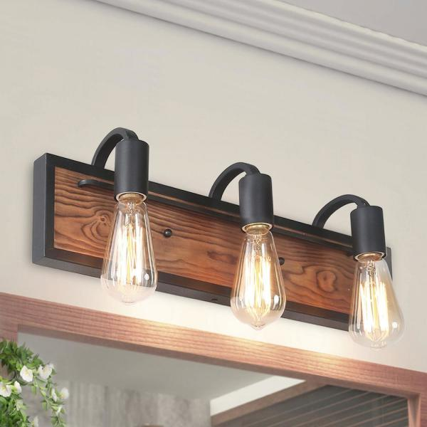 Rustic Bathroom Vanity Light Wayner 3-Light Matte Black Wood Vanity Light Modern Industrial Water Pipe Wall Sconce
