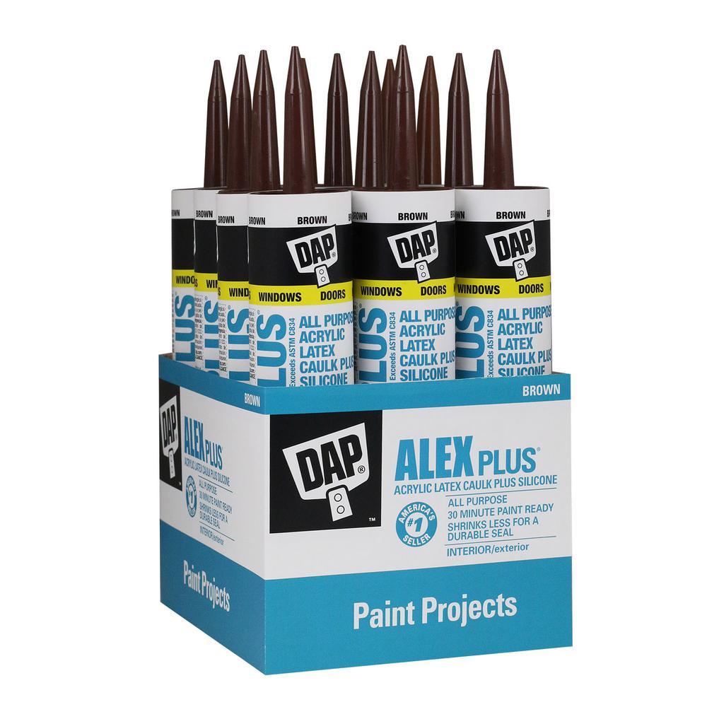 Alex Plus 10.1 oz. Brown Acrylic Latex Caulk Plus Silicone (12-Pack)