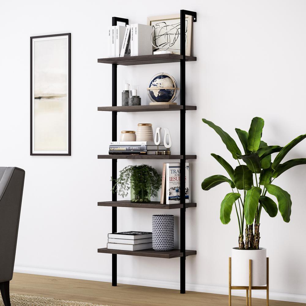 72 in. Dark Walnut Brown/Black Metal 5-shelf Ladder Bookcase with Open Back
