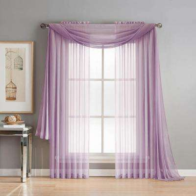 Diamond Sheer Voile 56 in. W x 216 in. L Curtain Scarf in Lilac