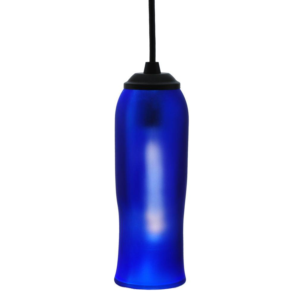 Illumine 1 Light Wine Bottle Mini Pendant Frosted Blue Glass