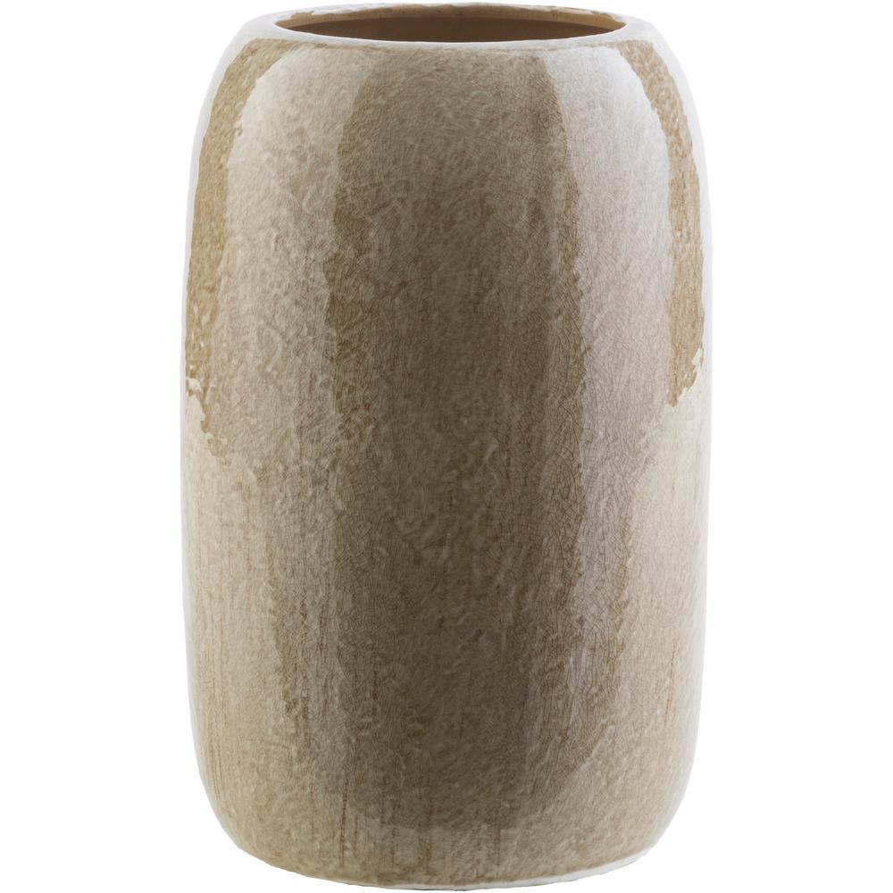 Iumi 10.8 in. Tan Ceramic Decorative Vase