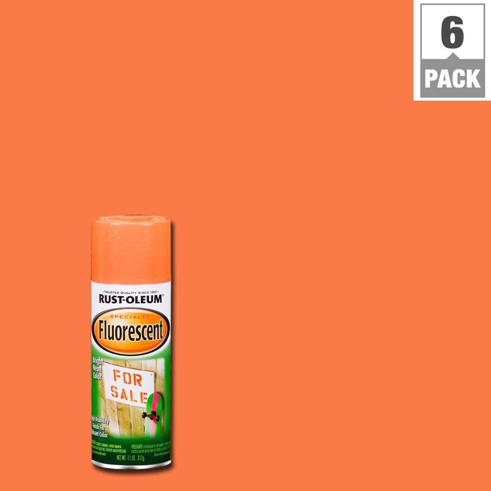 11 oz. Fluorescent Orange Spray Paint (6-Pack)
