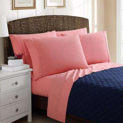 6-Piece Solid Coral Queen Sheet Sets
