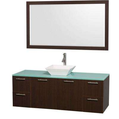 Amare 60 in. Vanity in Espresso with Glass Vanity Top in Aqua and White Porcelain Sink