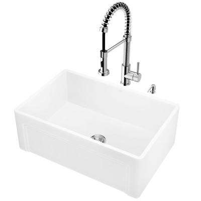 All-in-One Farmhouse Apron Front Matte Stone 27 in. Single Bowl Kitchen Sink with VG02001 Kitchen Faucet in Chrome