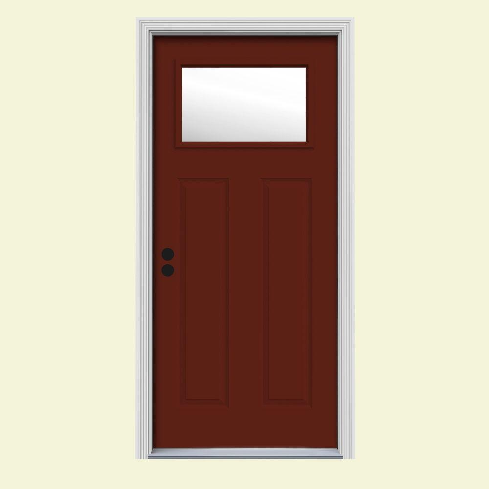 JELD-WEN 32 in. x 80 in. 1 Lite Craftsman Mesa Red Painted Steel Prehung Right-Hand Inswing Front Door w/Brickmould