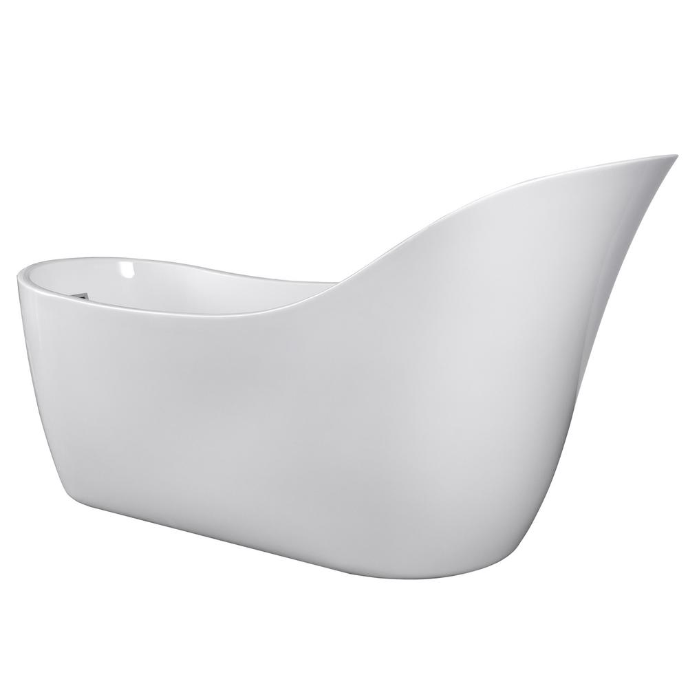 5.6 ft. Acrylic Reversible Drain Oval Slipper Flatbottom Freestanding Bathtub in