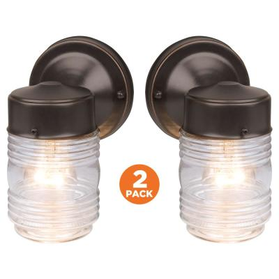 Jelly Jar Oil-Rubbed Bronze Outdoor Wall-Mount Wall Lantern Sconce (2-Pack)