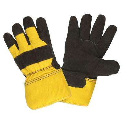 Pile Lined Split Cow Leather Palm Large Work Glove Black Leather Yellow Fabric Rubberized Safety Cuff