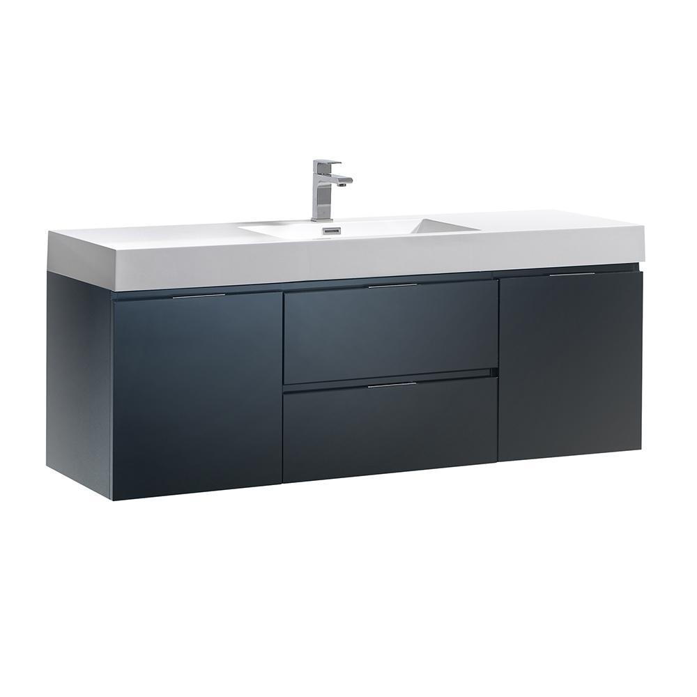 Valencia 60 in. W Wall Hung Bathroom Vanity in Dark Slate Gray, Double Acrylic Vanity Top in White