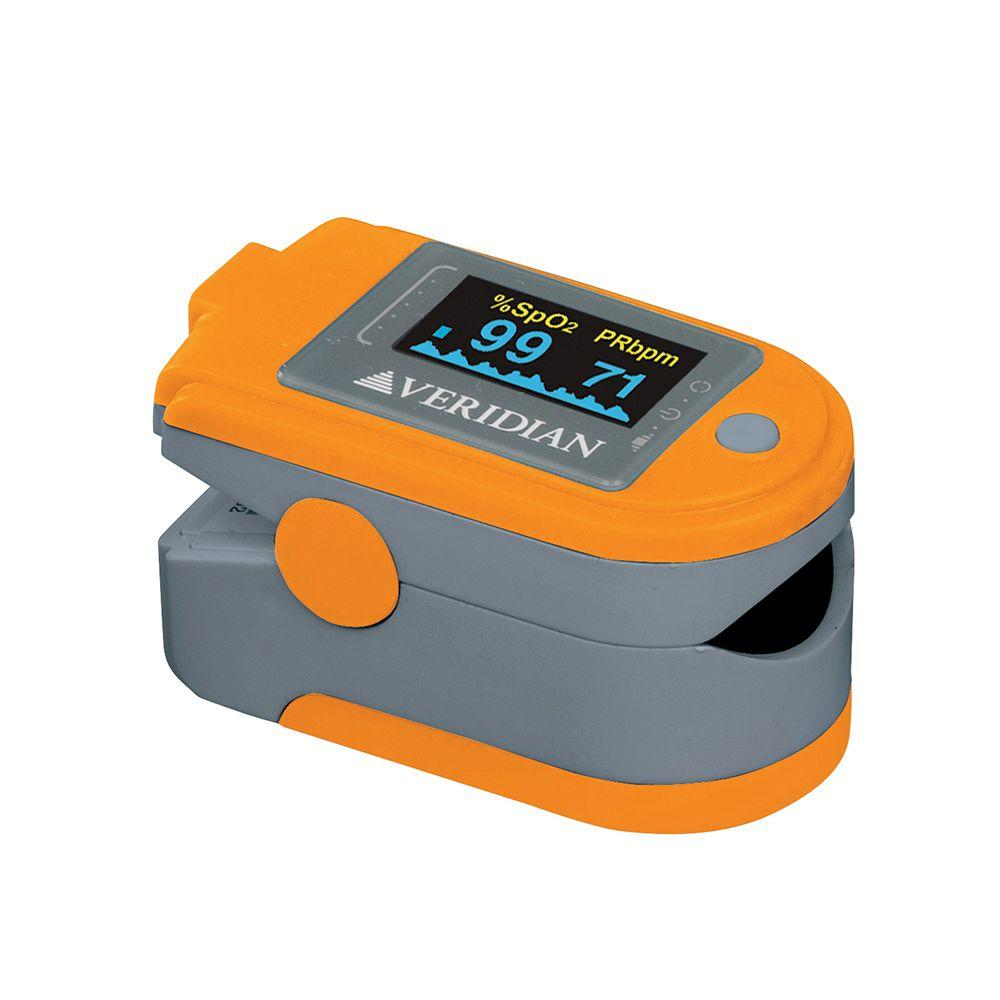 Veridian Healthcare Premium Pulse Oximeter Blood Oxygen Level Monitor Veridian Healthcare Premium Pulse Oximeter Blood Oxygen Level Monitor - Orange/Grey. Safely and accurately measures oxygen saturation of arterial hemoglobin and pulse rate. Six display modes for view at multiple angles. Displays Blood-Oxygen Saturation (SpO2), Pulse Rate and Pulse Bar. PC Link connection for real-time monitoring and data storage and review. Alarm mode alerts when digit is out of device or if levels fall below or rise above a user determined setting. Recording feature allows for one record up to 24 hours.