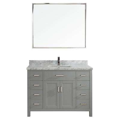 Kalize II 48 in. W x 22 in. D Vanity in Oxford Gray with Marble Vanity Top in Gray with White Basin and Mirror