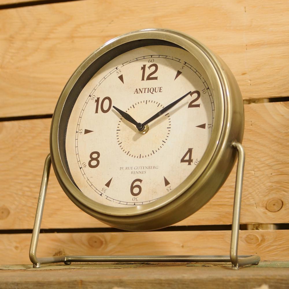 Antique Gold Metal Table Clock